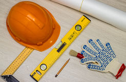 Tools and  construction helmet Stock Photo