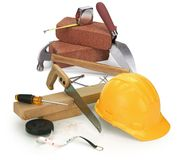 Tools and construction materials. On white Royalty Free Stock Photos