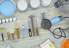 Tools for construction and renovation. Diagonal royalty free stock photo
