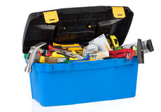 Tools in construction toolbox isolated on white Royalty Free Stock Photography