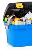 Tools and construction toolbox on white Stock Photos