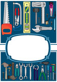 Tools Cover Frame_eps. Illustration of tools with white frame and invitation label to write your sample text Stock Photo