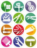 Tools and crafts symbols. A set of colorful tools, crafts and construction symbols Stock Photography