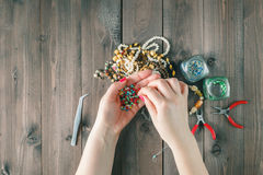 Tools for creating fashion jewelry in the manufacturing process Stock Photo