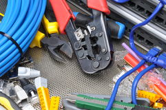 Tools for crimping with component to computer network Stock Photography