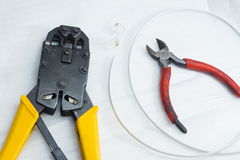 Tools for crimping network cable Stock Photos