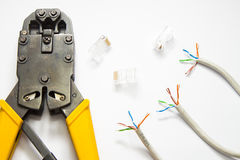 Tools for crimping network cable Stock Photography