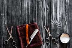 Tools for cutting beard barbershop top view on wooden background Stock Photos