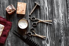 Tools for cutting beard barbershop top view on wooden background royalty free stock images