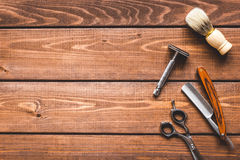 Tools for cutting beard barbershop top view royalty free stock photo