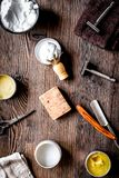Tools for cutting beard in barbershop on workplace background to royalty free stock image