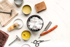 Tools for cutting beard in barbershop on workplace background top view stock images