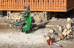 Tools for cutting wood like a chainsaw. Electrical tools for cutting wood like a chainsaw in the carpentry royalty free stock photos