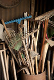 Tools in dark shed. On a farm Stock Photo