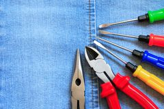 Tools On Denim Royalty Free Stock Photography