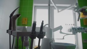 Tools for dental care in the dental office steadicam shot. Close-Up Shot Of Medical Equipment In Dental Office. Dental stock video footage