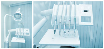 Tools of dentist in a dentist office Royalty Free Stock Image