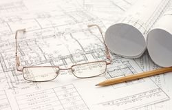 Tools for design on the blueprint Stock Photography
