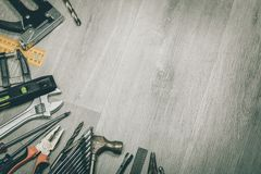 Tools on desk Royalty Free Stock Images