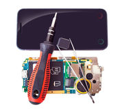 Tools and disassembled phone Royalty Free Stock Photography
