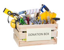 Tools donations box Stock Photography