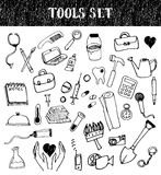 Tools Doodles Set Stock Images