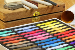 Tools for drawing. Set of artist's  tools for drawing. Pastel chalks Stock Photography