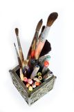 Tools for drawing. Cup with pens, pencils and brushes Stock Photography