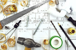 Tools on the drawing Royalty Free Stock Photo
