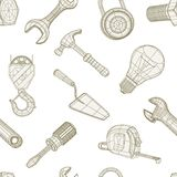 Tools drawing seamless pattern Royalty Free Stock Photo