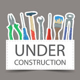 Tools drawing - under construction Stock Photography
