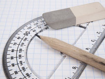 Tools for drawing on the workbook page Royalty Free Stock Image
