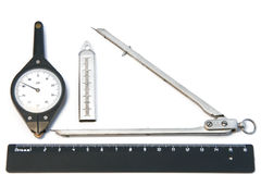 Tools for drawing works. And measurement of distances on a card Royalty Free Stock Photography