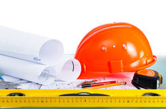Tools and drawings. Architectural drawings and tools. engineering concept Stock Photography