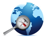 Tools , earth globe and magnify glass Royalty Free Stock Image