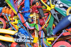 Tools and electrical component kit used in electrical installations Royalty Free Stock Image