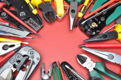 Tools for electrical installation on metal surface with place on text Royalty Free Stock Photography