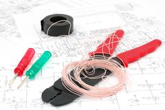 Tools for the electrical mounting Stock Image
