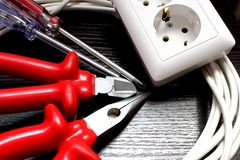 Tools for an electrician for installing sockets royalty free stock photos