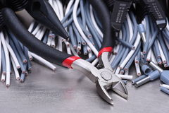 Tools for electrician and cables Stock Images