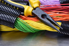 Tools for electrician and cables Stock Photos