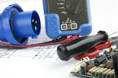 Tools for electricians  and accessories Stock Images