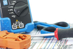 Tools for electricians crimpers and accessories Stock Photos