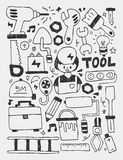 Tools elements doodles hand drawn line icon,eps10 Stock Photography