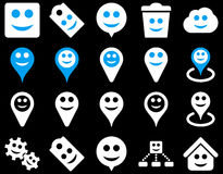 Tools, emotions, smiles, map markers icons. Glyph set style is bicolor flat images, blue and white symbols, isolated on a black background vector illustration
