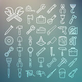 Tools and Equipment icons Set on Retina background Stock Photos