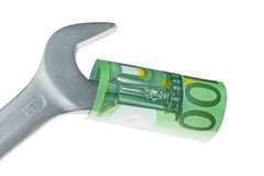 Tools and euro notes Royalty Free Stock Image