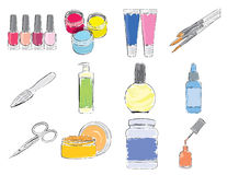 Tools and expendables for manicure. Set of stylized icons Royalty Free Stock Photo