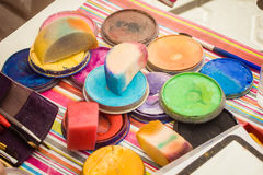 Tools for face painting. Color cosmetics, brushes and sponges for face painting. Children party stock photo
