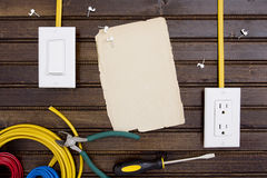 Tools and fasteners for fixing electrical wiring Stock Photos